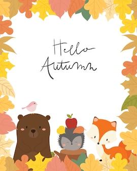 Illustration vectorielle de mignon animal automne carte.