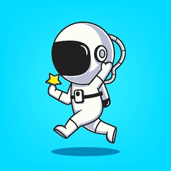 Illustration vectorielle de mignon astronaute dessinés à la main icône cartoon