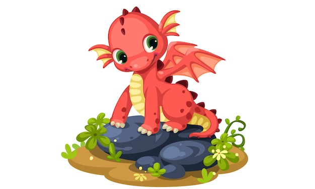 Illustration vectorielle de mignon bébé rouge dragon dessin animé