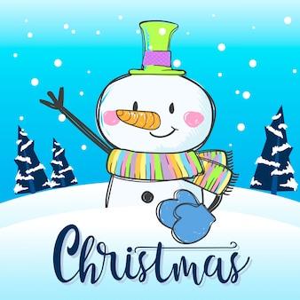 Illustration vectorielle mignon bonhomme de neige