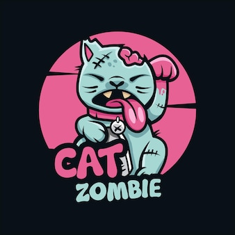 Illustration vectorielle de mignon chat zombie logo
