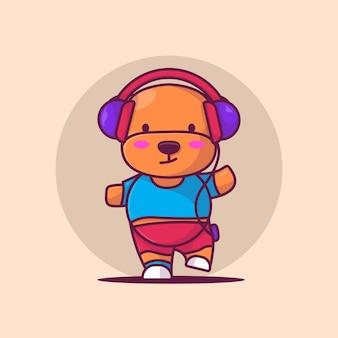 Illustration vectorielle de mignon chiot écoute musique