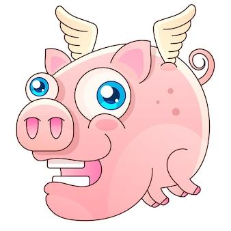 Illustration vectorielle mignon cochon volant conception de vecteur sur fond blanc. imprimer pour t-shirt. illustration de dessin à la main romantique pour les enfants.