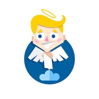 Illustration vectorielle de mignon cupidon debout sur un style plat nuage