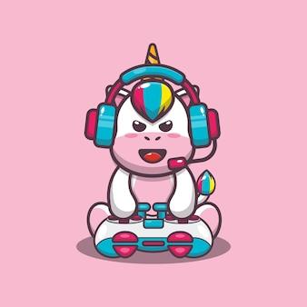 Illustration vectorielle de mignon gamer licorne dessin animé