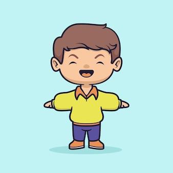 Illustration vectorielle de mignon garçon heureux