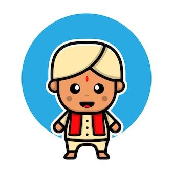 Illustration vectorielle de mignon garçon indien dessin animé