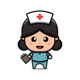 Illustration vectorielle de mignon infirmière caractère