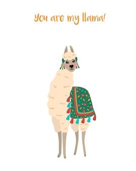 Illustration vectorielle avec mignon lama élégant