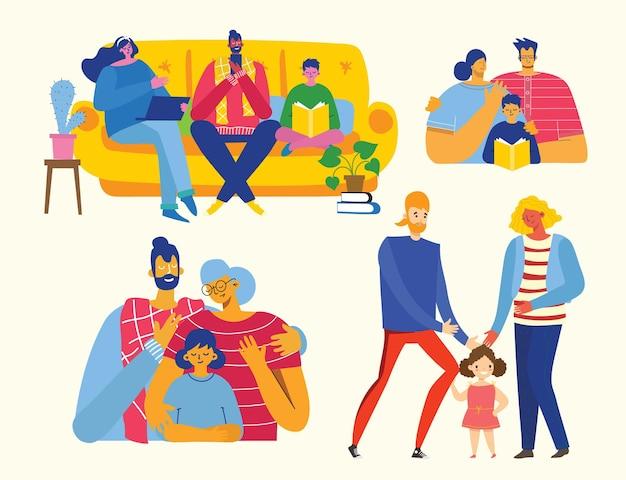 Illustration vectorielle mignon avec mère, père, fille