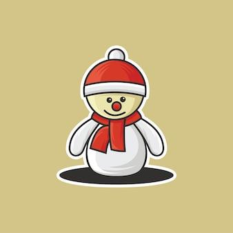 Illustration vectorielle mignon mignon bonhomme de neige noël