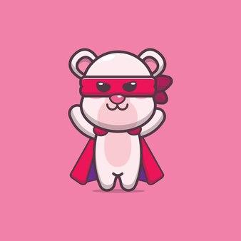 Illustration vectorielle de mignon ours polaire héros dessin animé