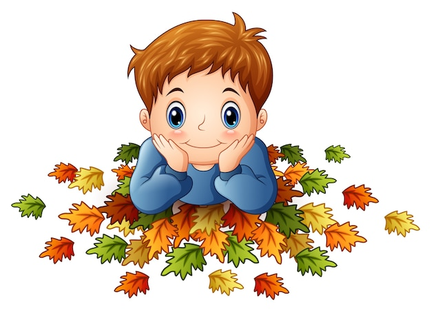 Illustration vectorielle de mignon petit garçon avec des feuilles d'automne