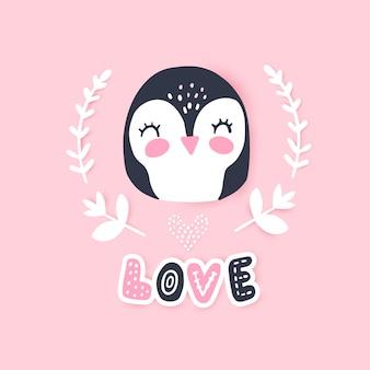 Illustration vectorielle mignon pingouin. animal drôle de dessin animé.