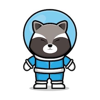Illustration vectorielle de mignon raton laveur astronaute dessin animé