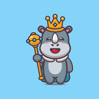 Illustration vectorielle de mignon roi rhinocéros dessin animé
