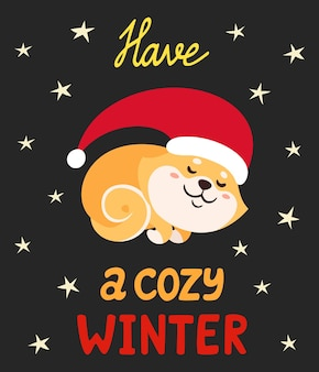 Illustration vectorielle avec mignon shiba inu en bonnet de noel isolé sur blanc. chien japonais de dessin animé coloré avec lettrage utilisé pour le magazine, les autocollants, les cartes de nouvel an.