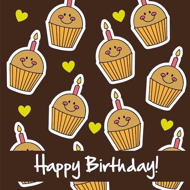Illustration vectorielle de mignon tasse gâteaux carte de joyeux anniversaire
