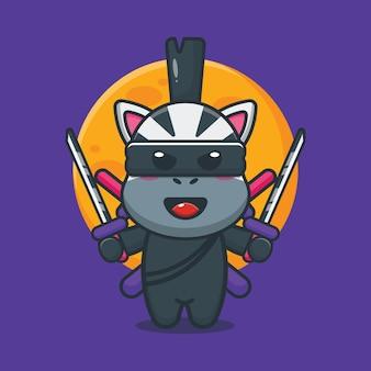 Illustration vectorielle de mignon zèbre ninja dessin animé