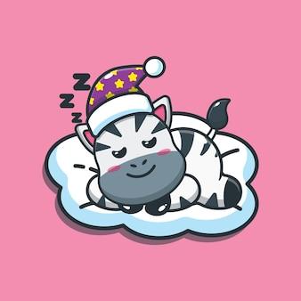 Illustration vectorielle de mignon zèbre sommeil dessin animé