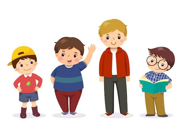 Illustration vectorielle de mignons petits garçons de caractère différent.