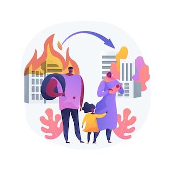 Illustration vectorielle de migration forcée concept abstrait. mouvement de personnes, déplacement forcé, groupe de réfugiés, fui la guerre, voyage avec des sacs, retour à la maison, métaphore abstraite des personnes déplacées.