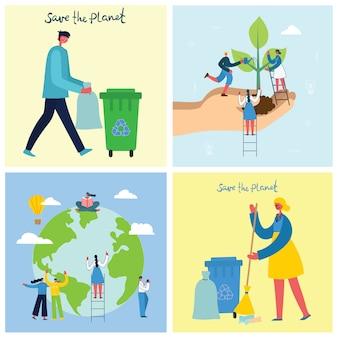 Illustration vectorielle milieux eco du concept d'énergie écologique verte et citation sauver la planète, penser vert et recycler les déchets