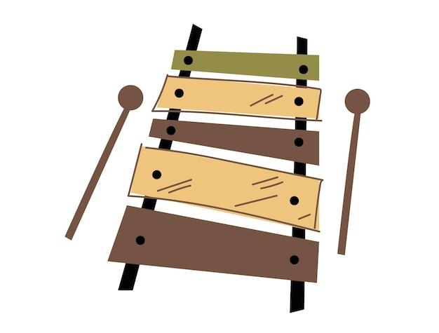 Illustration vectorielle minimaliste de xylophone illustration plate tendance style et couleur logo