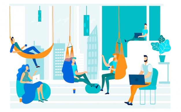 Illustration vectorielle mobilier sans cadre coworking.