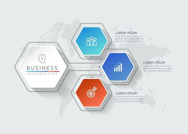 Illustration vectorielle modèle de conception infographique présentation 3 options ou étapes