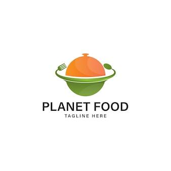 Illustration vectorielle de modèle de conception de logo de la planète alimentaire