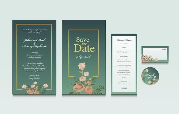 Illustration vectorielle modèle d'invitation de mariage floral classique