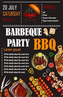 Illustration vectorielle d'un modèle de menu bbq, carte d'invitation sur un barbecue, certificat-cadeau