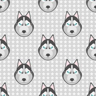 Illustration vectorielle modèle sans couture avec chiens husky et étoiles sur gris.