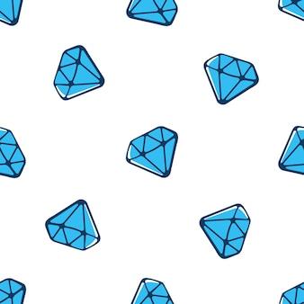 Illustration vectorielle. modèle sans couture avec chute de diamants bleus avec contour sur fond blanc