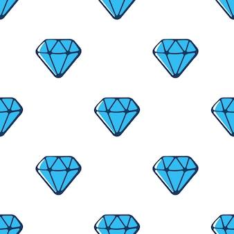 Illustration vectorielle. modèle sans couture avec des diamants bleus avec contour sur fond blanc