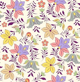 Illustration vectorielle de modèle sans couture avec fleurs abstraites