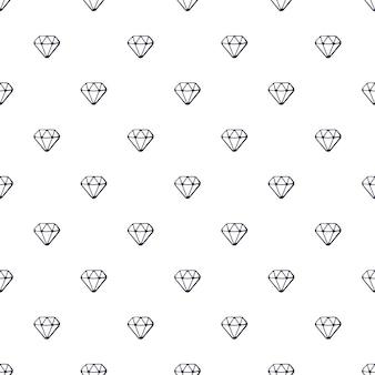 Illustration vectorielle. modèle sans couture avec des griffonnages de diamants sur fond blanc