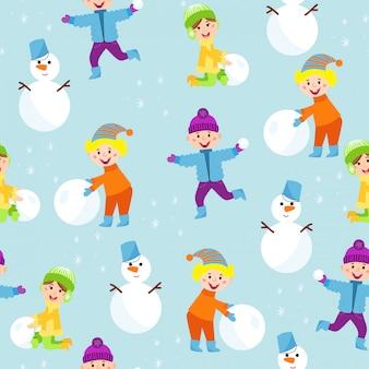 Illustration vectorielle de modèle sans couture hiver enfants.
