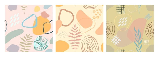 Illustration vectorielle moderne avec des feuilles qui tombent, des éclaboussures, des textures grunge, des coups de pinceau rugueux, des griffonnages. modèle sans couture de dessin abstrait créatif serti de formes dessinées à la main