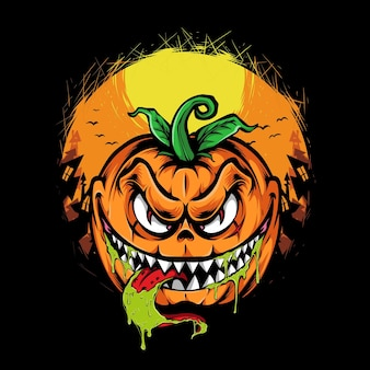 Illustration vectorielle de monstre citrouille halloween