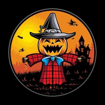 Illustration vectorielle de monstre épouvantail halloween