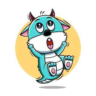 Illustration vectorielle de monstre mignon dessin animé icône