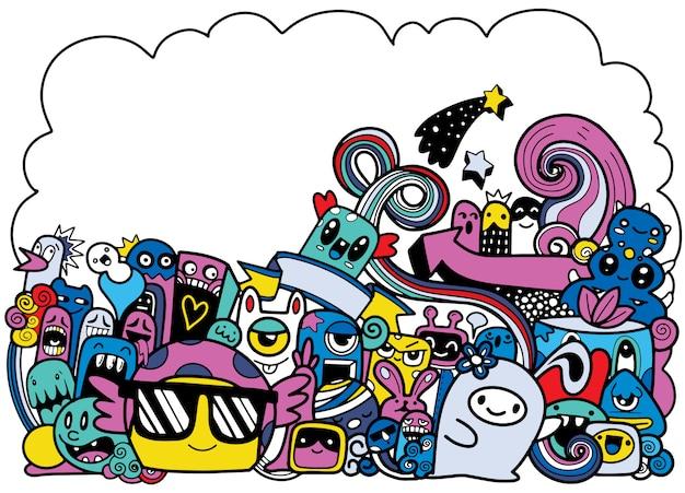 Illustration vectorielle de monstre mignon doodle avec fond, dessin à la main doodle
