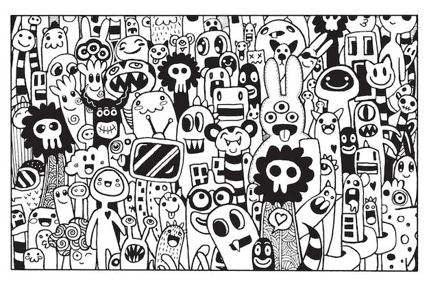 Illustration vectorielle de monstres et alien mignon