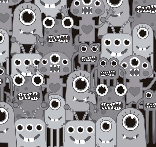 Illustration vectorielle de monstres mignons fond gris couleur