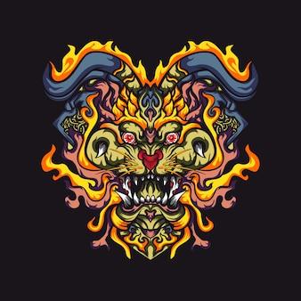 Illustration vectorielle de monstres tête de tigre abstraite