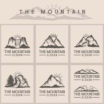 Illustration vectorielle de montagne coucher de soleil logo