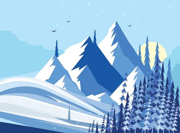Illustration vectorielle de montagne hiver paysage