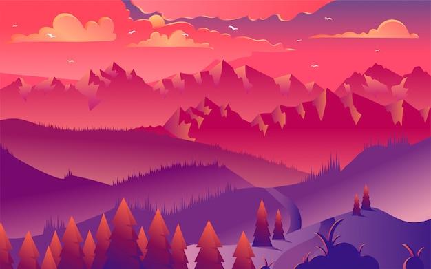 Illustration vectorielle de montagnes coucher de soleil minimaliste